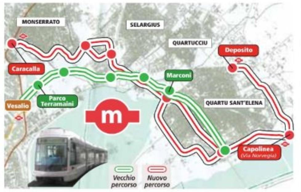 tracciati metropolitana leggera di Cagliari a confronto