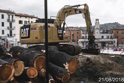 Poggibonsi, Piazza Mazzini, abbattimento alberi