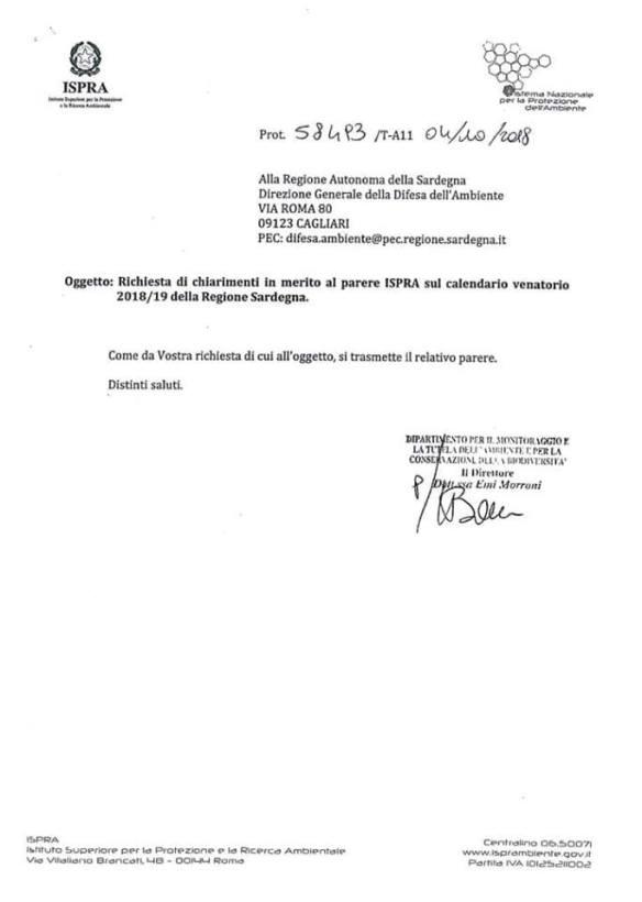 Calendario Venatorio Sardegna.Anche L I S P R A Come I Giudici Amministrativi Boccia